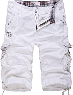 Cottory Men's Cotton Loose Fit Multi Pocket Cargo Shorts