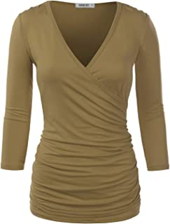 NINEXIS Womens Long Sleeve Crossover Side Wrap Surplice Casual Top