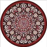 EmyTock Alfombra redonda de algodón, diseño étnico europeo, alfombra redonda, 120 cm de diámetro