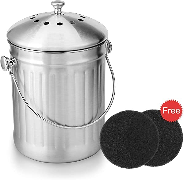 ENLOY Compost Bin Stainless Steel Indoor Compost Bucket For Kitchen Countertop Odorless Compost Pail For Kitchen Food Waste With Carrying Handle And 2 Charcoal Filter 1 3 Gallon Easy To Clean