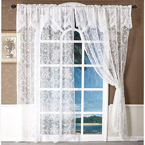 """White Lace Sheer Window Door Curtains with Valances 1 Panel Floral Voile Tulle Window Treatments Embroidered Sliding Door Drapes and Curtains for Bedroom Living Room, 60"""" W x 90"""" H"""