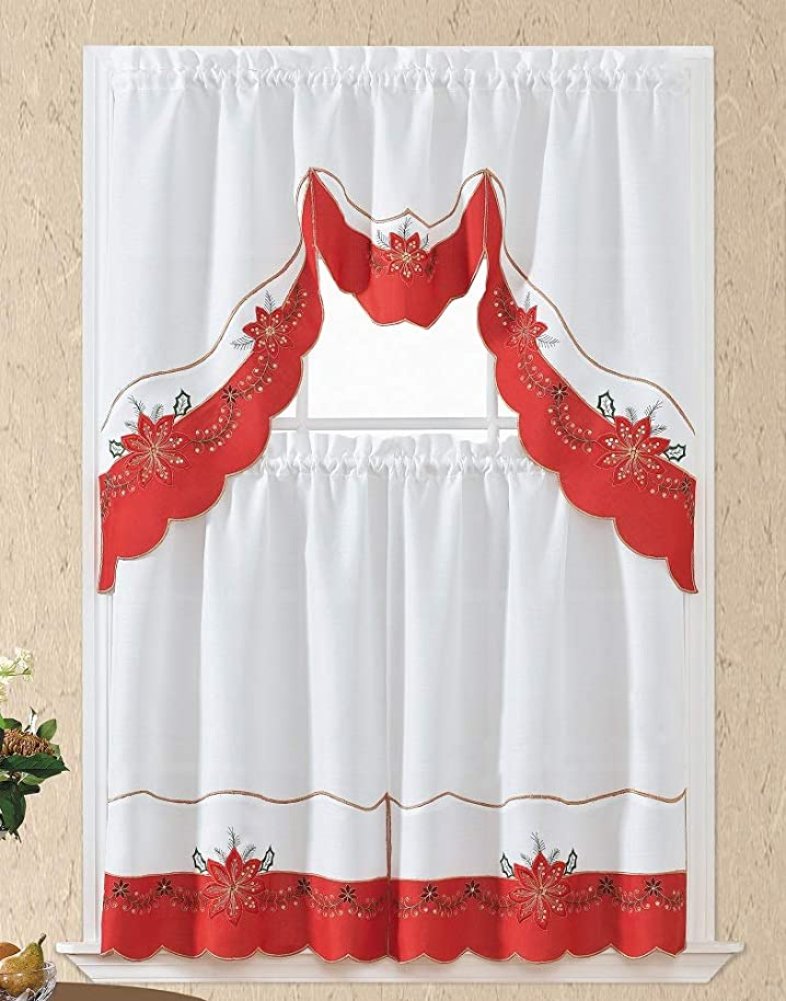 Home Collection 3D Christmas Flower Embroidered Kitchen Curtain Tiers & Swag Set White-Red, 60x36 & 30x36 by