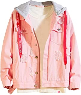 Men/'s Retro Jackets Coats Pullover Distressed Demin Hoodie Tops Blouse Putwear