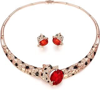 Kemstone Rose Gold Ruby Crystal Leopard Choker Necklace Stud Earrings Jewelry Set