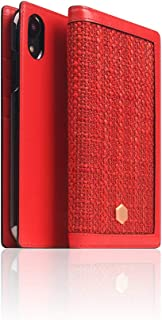 """SLG Design] D5 Edition Calf Skin Leather Case for iPhone XR I Signature Leather """"Collaboration"""" Belgium Fabric Book Wallet Case with Feature Card Holder Compatible with iPhone XR (Red)"""