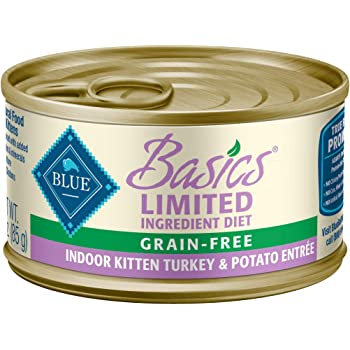Amazon Com Blue Buffalo Freedom Grain Free Natural Kitten Pate Wet Cat Food Indoor Chicken 3 Oz Cans Pack Of 24 Pet Supplies