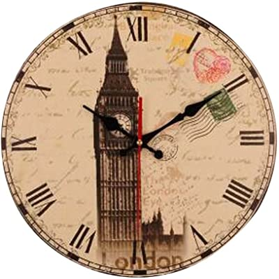 Alien Storehouse [Big Ben] 14 Inch Vintage Wooden Wall Clock Decorative Silent Wall Clock
