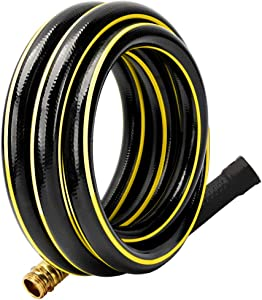 Solution4Patio 5/8 in. x 10 ft. Short Garden Hose, No Leaking, Black Lead-Hose Male/Female Solid Brass Fittings for Water Softener, Dehumidifier, Vehicle Water Filter, 12 Years Warranty #G-H155B24-US