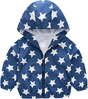 Sherostore ♡ 🌟 Toddler Kids Girls Boys Cartoon Print Windproof Coat Hooded Outwear Midweight Jacket with Jackets Cute