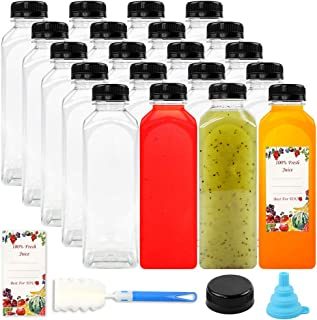 20 Pack Empty PET Plastic Juice Bottles 16 OZ Reusable Clear Disposable Containerswith Black Tamper Evident Caps Lids for Juice, Milk and Other Beverages