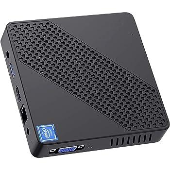 Mini PC Fanless Intel Celeron N4000 (up to 2.6GHz) 4GB DDR/64GB eMMC Mini Desktop Computer Windows 10 HDMI 2.0 and VGA Port 2.4/5.8G WiFi BT5.0 3xUSB3.0 Support Linux,NGFF 2242 SSD Auto Power On