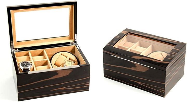 2 avvolgitori in legno di ebano laccato per 4 orologi, piano in vetro, foderato in velluto, colore: marrone BB621EBN