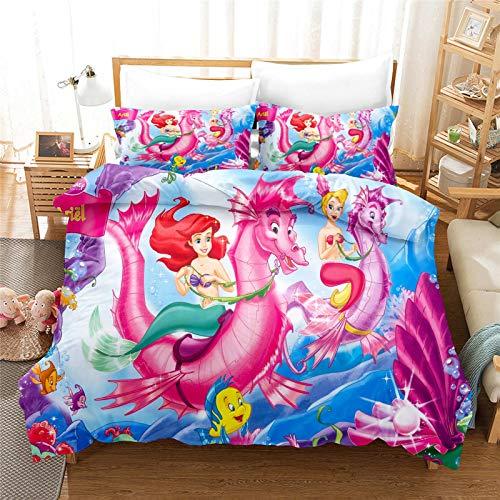 SMNVCKJ Ropa de cama de Disney Princesas Disney 3D, impresión digital, microfibra, Ariel, dibujos animados, para niños y niñas (7,140 x 210 cm)