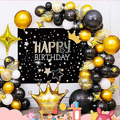 ACCSHINE Kit di palloncini di compleanno in oro nero Poster di compleanno Decorazione di nozze per feste di compleanno 47 pezzi con nastri Palloncini di coriandoli di ghirlande