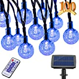 Aenamer Guirnalda Luces Exterior Solar, 17M 100 LED Impermeable Cadena de Luces 8 Modos de Luz para Decoración Hogar Jardín Terraza Patio Fiestas Navidad