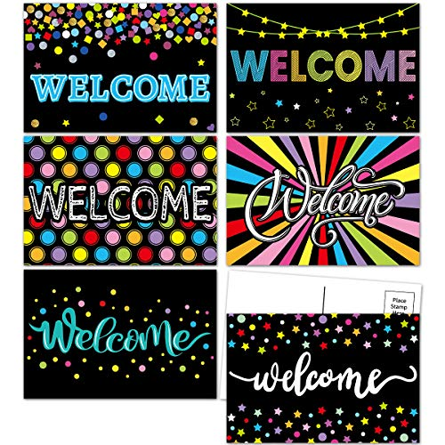 Chalkboard Welcome Postcards Colorful Welcome to Our Class Cards for Kids Back to School