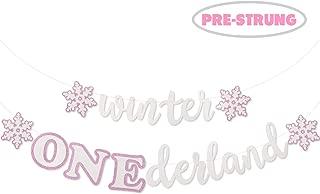 Faisichocalato Winter Onederland Banner, Pink & White Snowflakes Garland Winter 1st Birthday Decor for Baby Girls Winter Onederland First Birthday Party Decorations