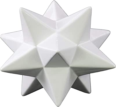 Benjara Ceramic 12 Point Stellated Icosahedron Sculpture, Large, Set of 2, White