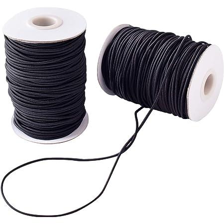 2 Rollo 3 mm Cordón Elástico Hilo de Nylon Cuerda Elástico Negro Tela Hilo para Cuentas DIY Manualidades 40m (2pcs 3mm Negro)