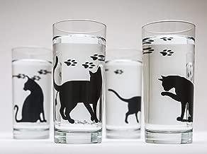 Cat Glassware Gift Set of 4 Glasses 16oz Highball Glass, Silkscreened Printed Party Barware