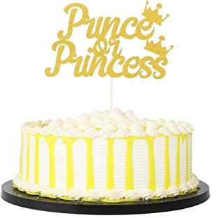 PALASASA Gold Single Sided Glitter Prince or Princess Crown cake topper Gender Reveal party Decoration