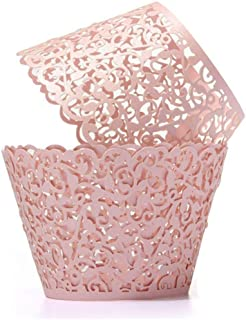 SUYEPER 100pcs Cupcake Wrappers Artistic Bake Cake Paper Cups Little Vine Lace Laser Cut Liner Baking Cup Muffin Case Tray...