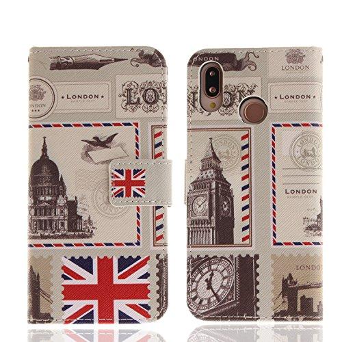 für Huawei P20 lite PU Wallet Case Schutz Hülle für - Cover Flip Tasche mit Kartenfach in Buch Stil mit Kartenfach Standfunktion Magnetverschluss und Hand Wrist(S) (5)