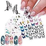 Kalolary 30 Blatt Nagelsticker Blumen Schmetterling Wassertransfer, Nagelaufkleber Selbstklebend Nail Art Stickers Nageltattoos Nageldesign Sticker Nagel Decals DIY Nagelkunst Abziehbilder