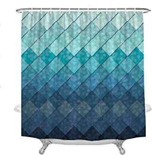 Wencal Geometric Rhombus Mermaid Fish Scales Shower Curtain for Bathroom with Hooks Waterproof 72 x 72 Inches