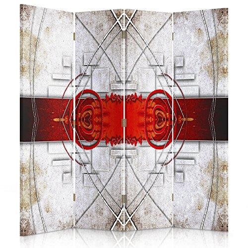 Feeby Frames. Raumteiler, Ggedruckten aufCanvas, Leinwand Wandschirme, dekorative Trennwand, Paravent einseitig, 4 teilig (145x180 cm), ABSTRAKTION, Muster, Spiegel, SPIEGELBILD, ROT, SCHWARZWEIß