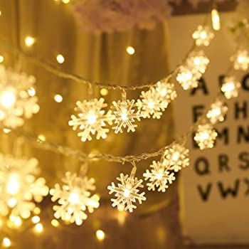 Amazon Com Christmas Lights Snowflake String Lights 19 6 Ft 40 Led Fairy Lights Battery Operated Waterproof For Xmas Garden Patio Bedroom Party Decor Indoor Outdoor Celebration Lighting Warm Color Home Kitchen