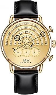 Analog Quartz Chronograph Sport Watches for Men Gold Dial Leather Band