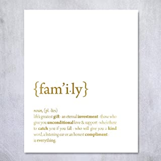 Family Definition (On White) Gold Foil Wall Art Print Dictionary Quote Home Decor Office Living Room Poster 8x10