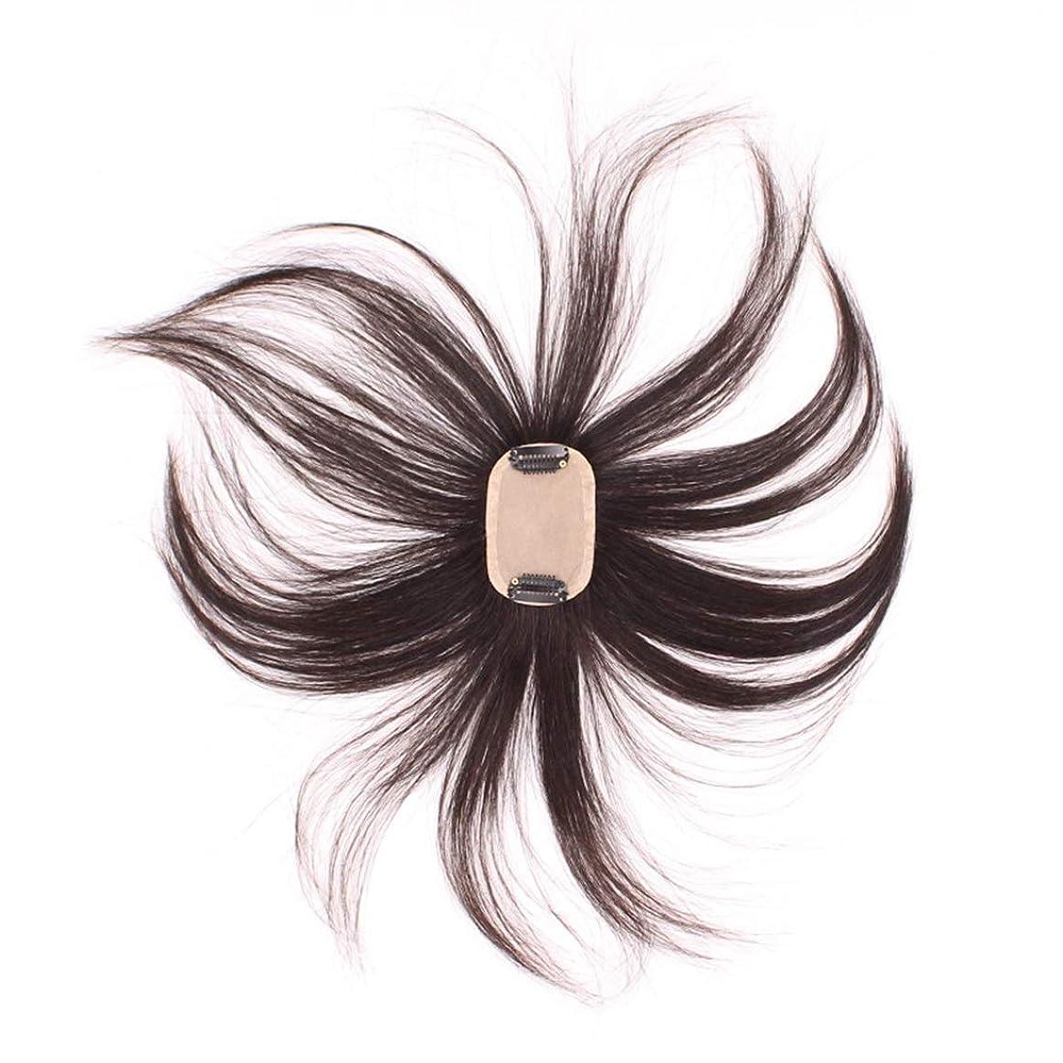 安全ダンプ矢Koloeplf 女性と男性のためのフルハウスの織りのヘアピースハンドニードルヘアラインの再発行リアルヘアウィッグ (Color : Natural black)
