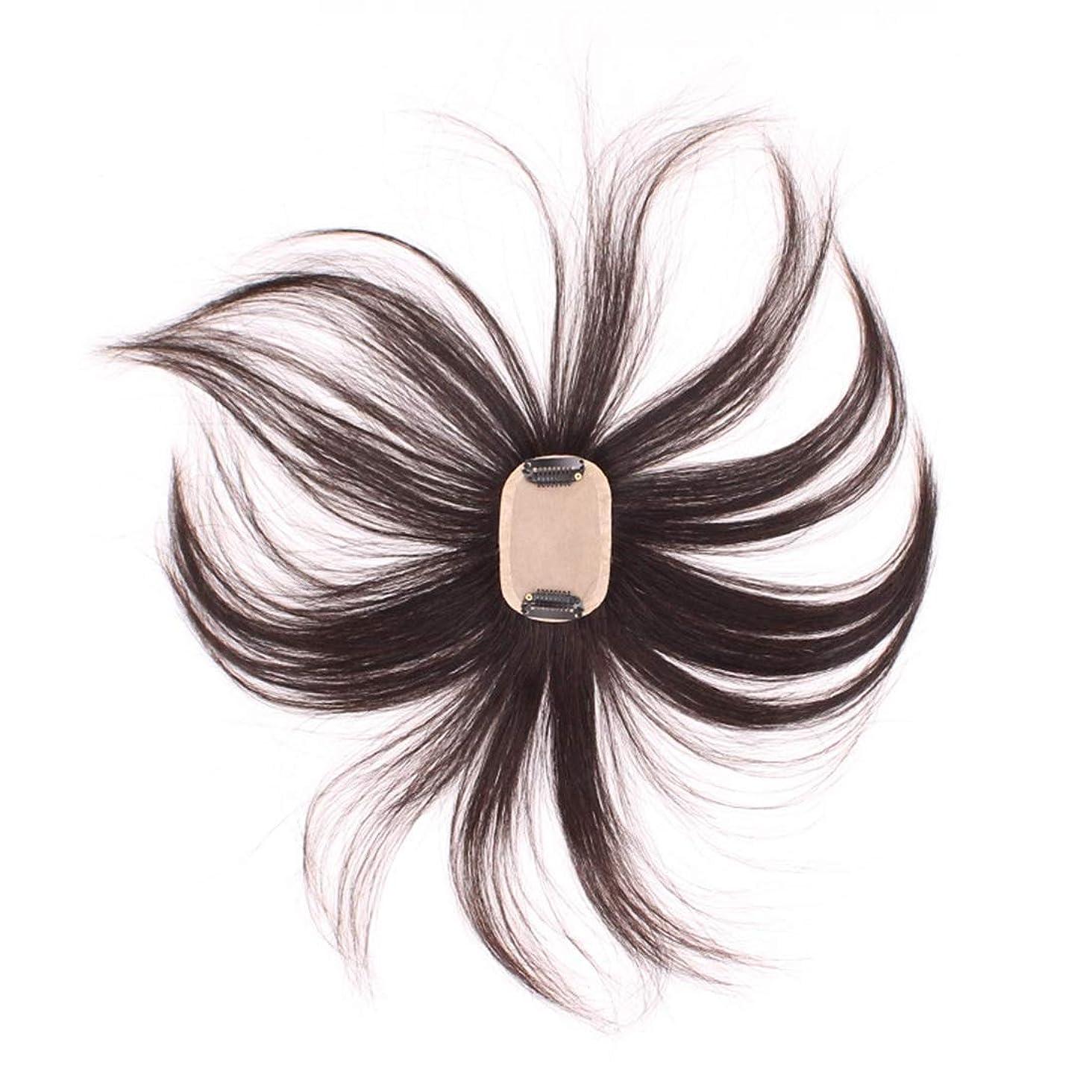 ファーム理論オーケストラBOBIDYEE フルハンド織りヘアピースハンドニードルヘアライン再発行本物のかつら男性と女性のための人工毛レースのかつらロールプレイングかつら (色 : Natural black)