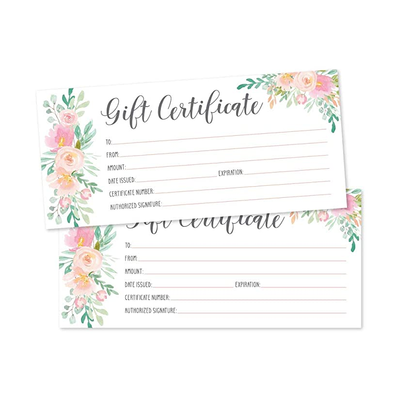 25 4x9 Floral Blank Gift Certificate Cards Vouchers for Holiday, Christmas, Birthday Holder, Small Business, Restaurant, Spa Beauty Makeup Hair Salon, Wedding Bridal, Baby Shower Cash Money Printable
