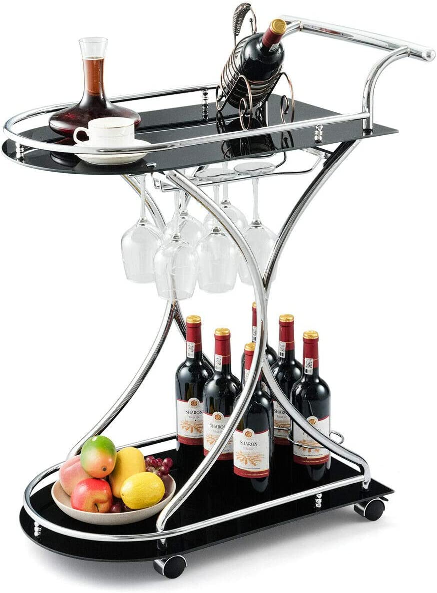 Tangkula Rolling San Diego Charlotte Mall Mall Bar Cart Glass a Frame Metal with Serving