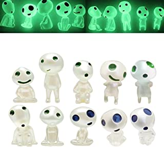 Luminous Garden Ghost Miniature Statue,Garden Figurines With Glow In The Dark,Princess Mononoke Tree Spirit Elves For Yard...