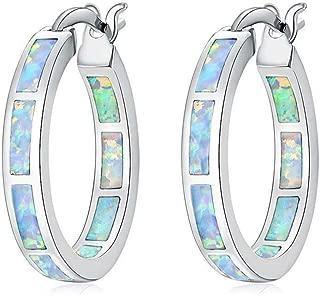 CiNily Sterling Silver Plated Hoop Earrings,Multicolor Opal Small Hoop Earrings for Women Girls Hypoallergenic Jewelry for Sensitive Ears Gemstone Round Hoops 19mm