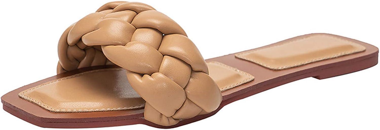 YIYA Flat Sandals for Women Open Toe Braided Slippers Ladies Com
