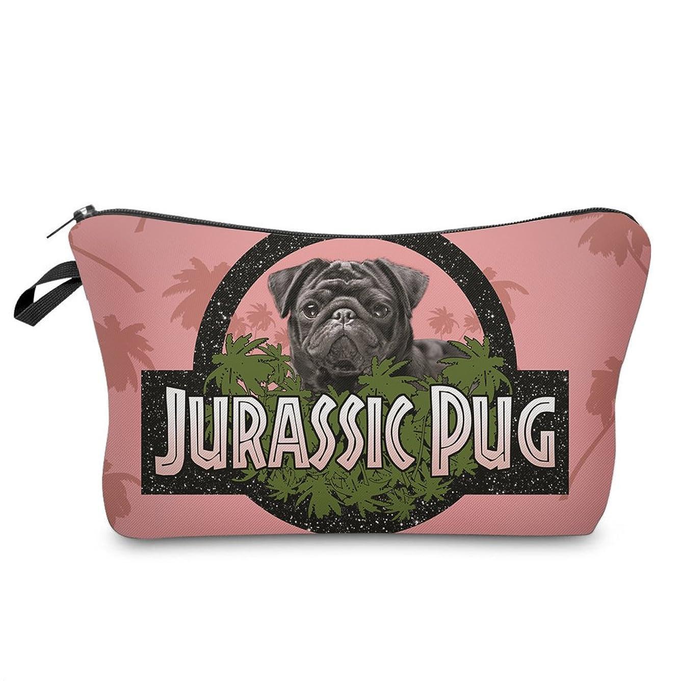 十代老朽化した聴衆(560kick) ジュラシック パグ 犬 ピンク メイク ポーチ
