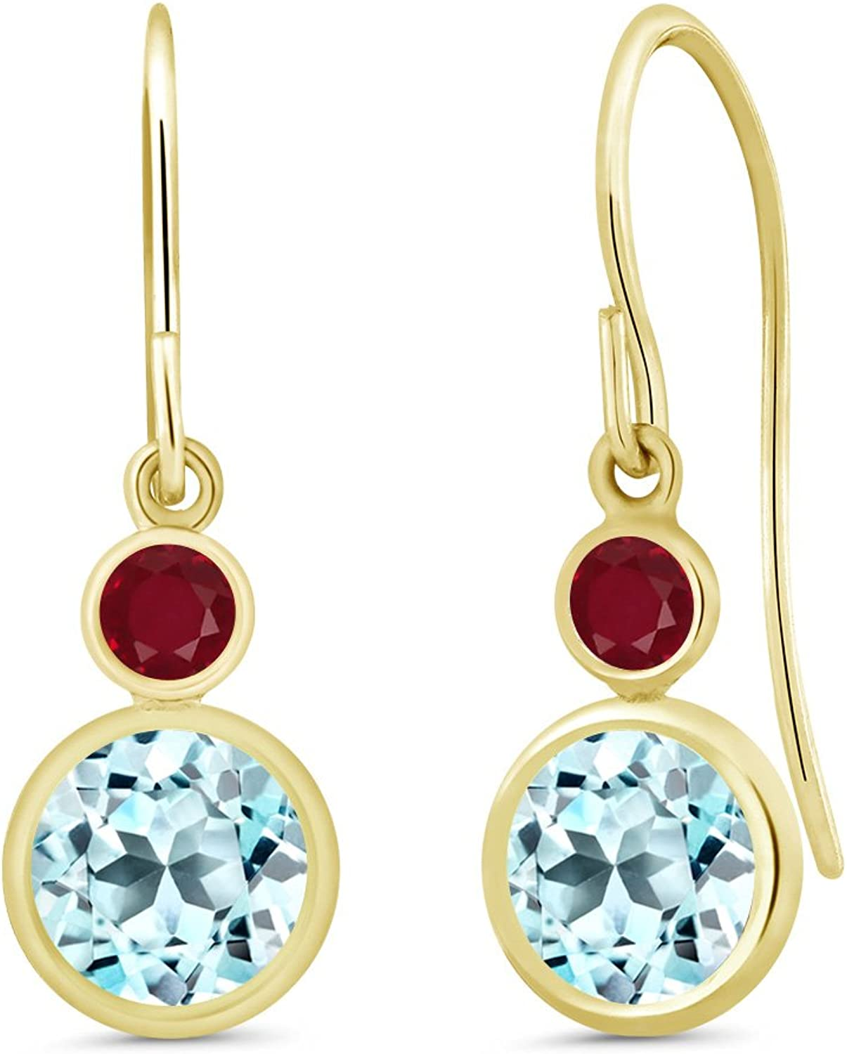 2.67 Ct Round Sky bluee Topaz Red Ruby 14K Yellow gold Earrings
