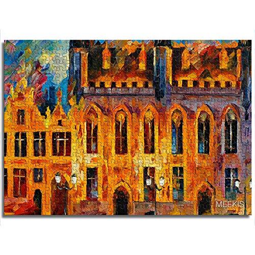 mmkow Puzzle de impresión 1000 Piezas Rompecabezas de construcción de Ciudades Juego Familiar 38x52