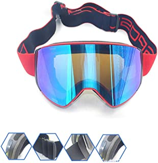 Iddefee Riding Glasses Men and Women Mountaineering Goggles Ski Glasses Anti-Fog Goggles Borderless Ski Goggles for Men and Women Racing Goggles (Color : Red Frame Blue Film)