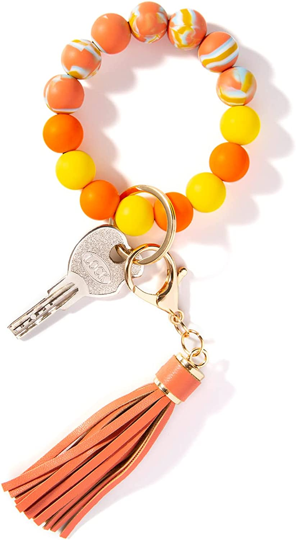 BDAILKA Keychains Bracelet for Women - Car Keychains, Silicone Bead Key Ring Bracelet for Women