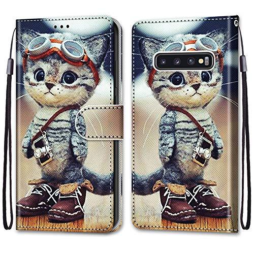 Nadoli Handyhülle Leder für Samsung Galaxy S10 Plus,Bunt Bemalt Lustig Leder Schuhe Katze Trageschlaufe Kartenfach Magnet Ständer Schutzhülle Brieftasche Ledertasche Tasche Etui