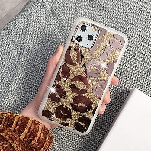 Shining Mirror Estuche para teléfono con estampado de leopardo para iPhone 11 Pro Max XR X XS Max 7 8 6 6S Plus Contraportada con brillo dorado suave a prueba de golpes, T7, para iphone 12Pro Max