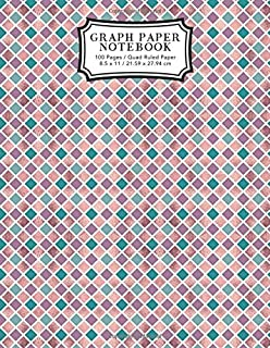 Graph Paper Notebook: Rose and Teal Squares Graphing Paper | Blank Quad Ruled (Student Life Notebooks)