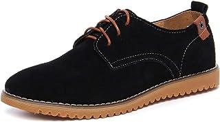 DADAWEN Zapatos de vestir clásicos de cuero de gamuza Oxford de los hombres Zapatos casuales de negocios