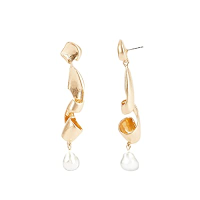 Rebecca Minkoff Organic Metal and Pearl Twisted Earrings (Gold) Earring
